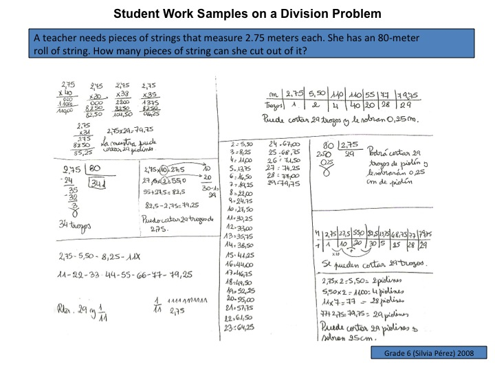 Student samples of division