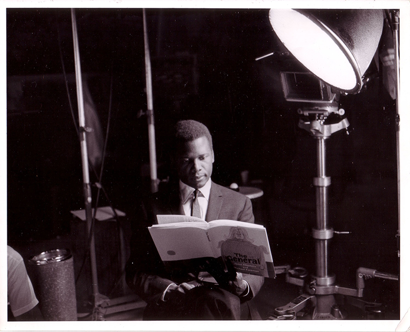Sidney Poitier during a filming for the Reading Incentive Film Series
