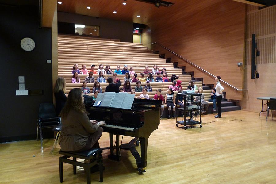 Rehearsing in the auditorium