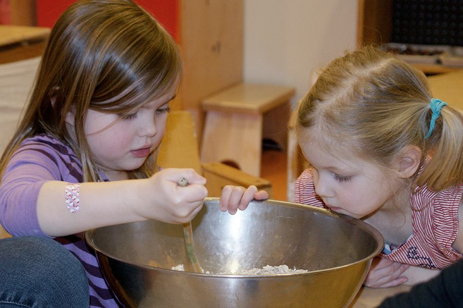 Stirring the dry ingredients.