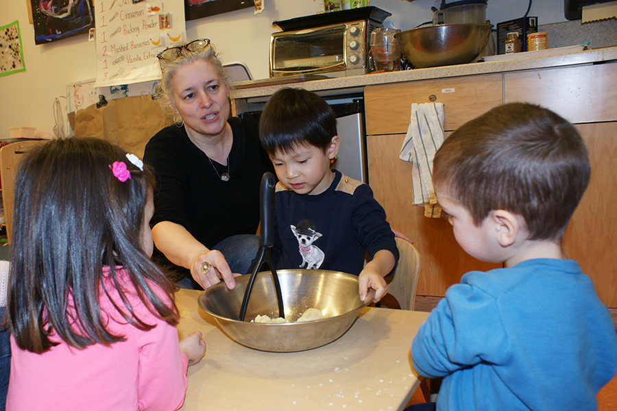 Teacher Pam providing the support.