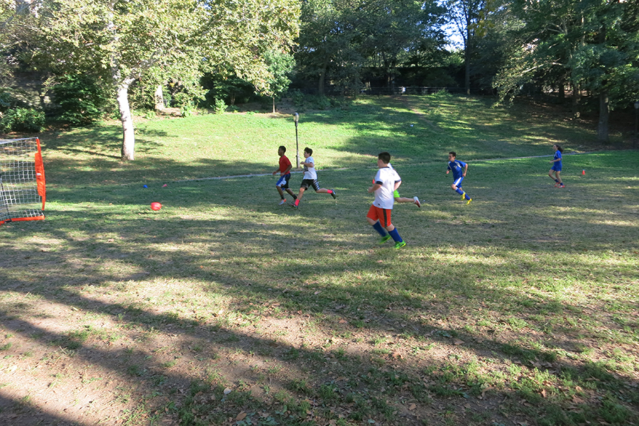Soccer practice in nearby Riverside Park