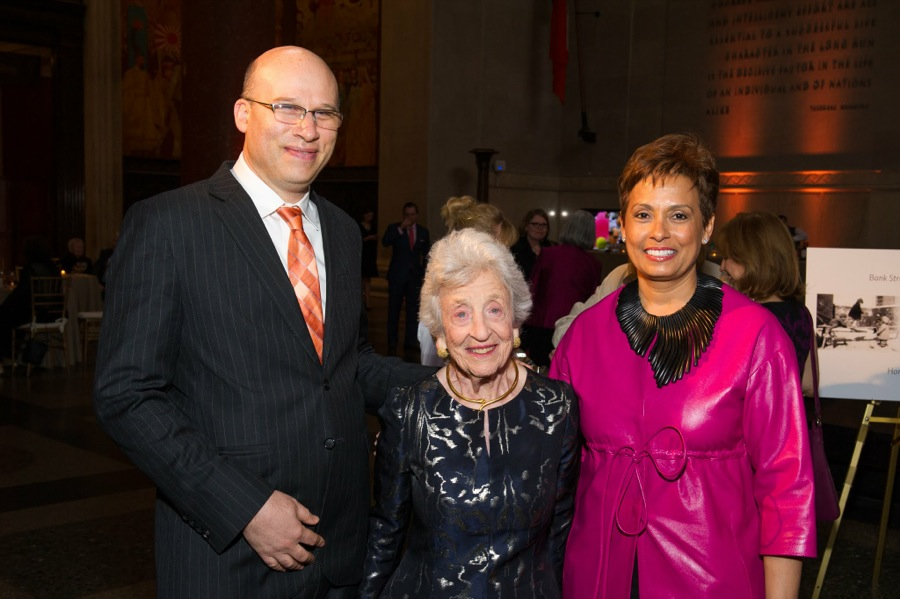 President Shael Polakow-Suransky, Trustee and Honoree Lynn Straus, and Board Chair Yolanda Ferrell-Brown.