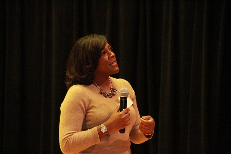 Language Series Keynote Speaker, Dr. Detra Dennis-Price, presenting